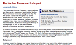 The Nuclear Freeze and Its Impact